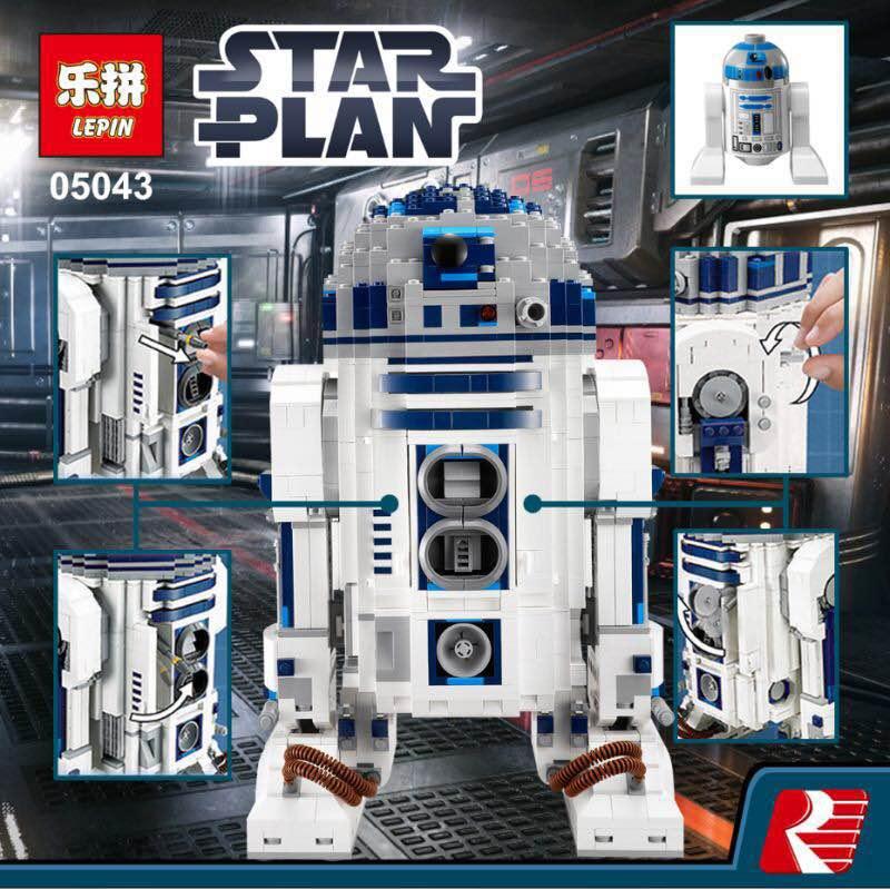 Lepin 05043 2127Pcs New Genuine Star Series The R2-D2 Robot Set Out of print Building Blocks Brick Toy for kids puzzel gift wars футболка классическая printio r2 d2 star wars dead star
