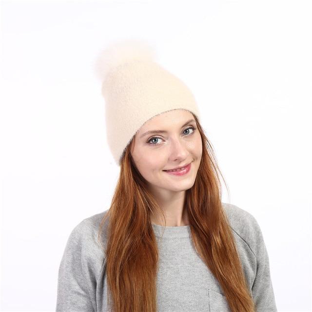 Xuyijun Natural fur fox pom poms ball Keep warm winter hat woman girls wool knitted hats cover thick Women skullies beanies