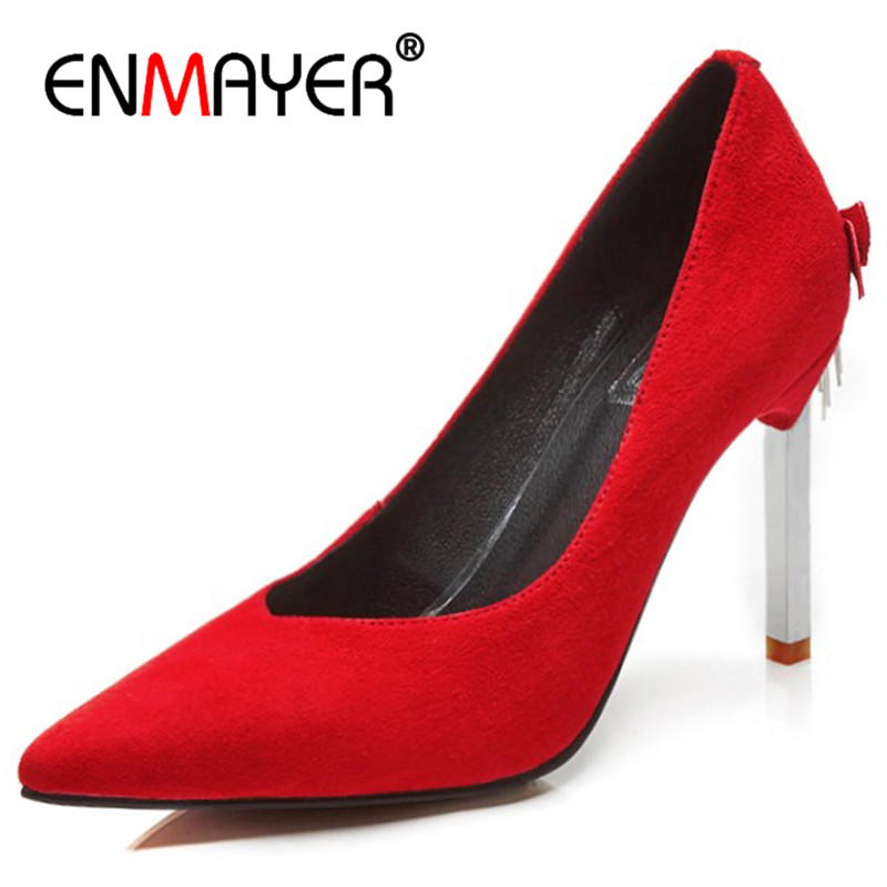 ENMAYER High Heels Pointed Toe Red Party&Wedding Pumps Shoes Woman Plus Size 34-42 Office Ladies Shoe Pumps ladies red shoes 2018 spring patent cross straps gladiator pointed toe sandals women high heels party wedding pumps shoes 43