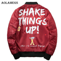Aolamegs Bomber Jacket Men Graffiti Print Thin MA 1 Men S Jacket Hip Hop Fashion Outwear