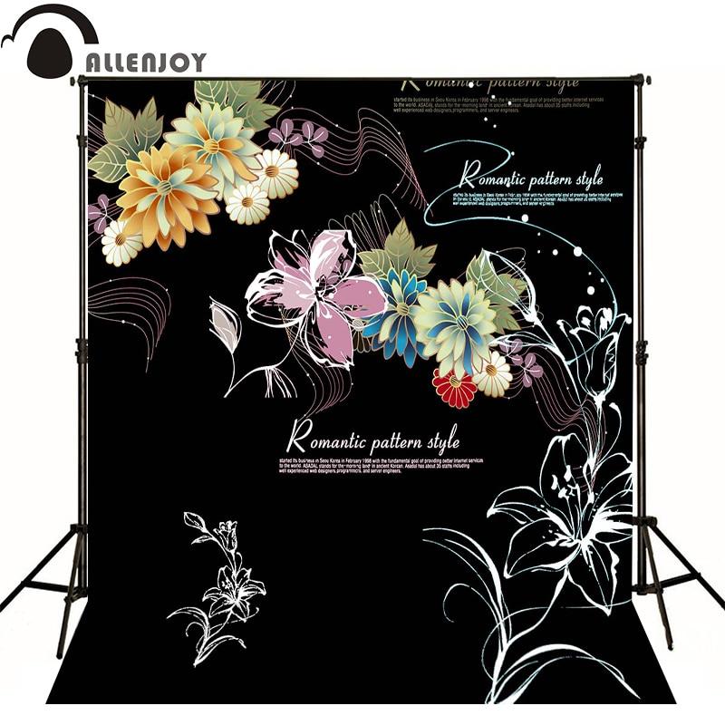 Allenjoy photographic background Romantic Black Flower Violet kids vinyl send rolled photocall lovely flower violet w edp