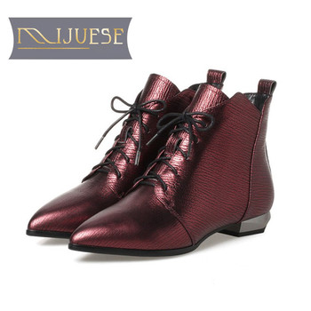 MLJUESE 2019 women ankle boots cow leather goth boots pointed toe autumn spring low heel fenty beauty be  boots size 34-43