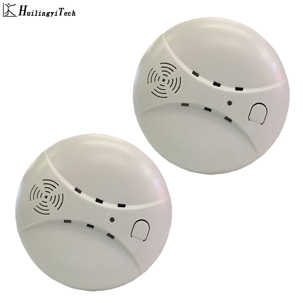 2pcs 433MHz Wireless Fire Protection Smoke Detector Portable Alarm Sensors For Home Security System