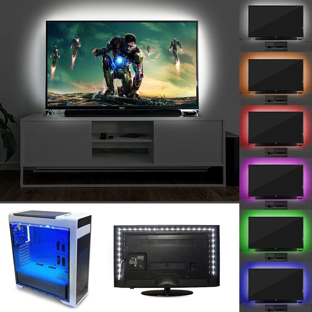 5V TV fona apgaismojums USB LED sloksne SMD3528 apgaismojums 50M 1M - LED Apgaismojums - Foto 6