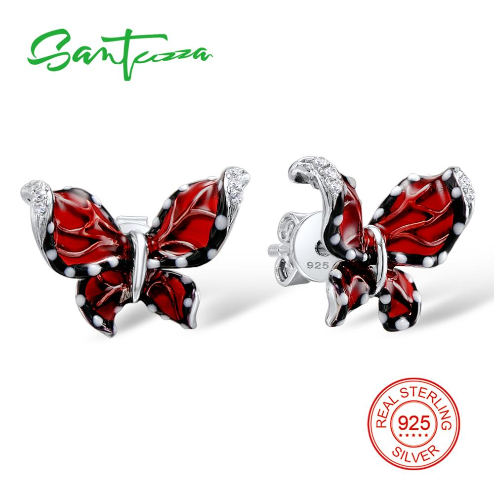 SANTUZZA Silver Butterfly Earrings For Women 925 Sterling Silver Stud Earrings Silver 925 Cubic Zirconia brincos Jewelry Enamel henry cotton s платье