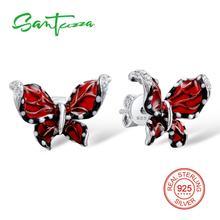 Серебряная бабочка Серьги белый кубический цирконий Камни чистый 925 серебро женщина Серьги Модные украшения ручной работы эмаль