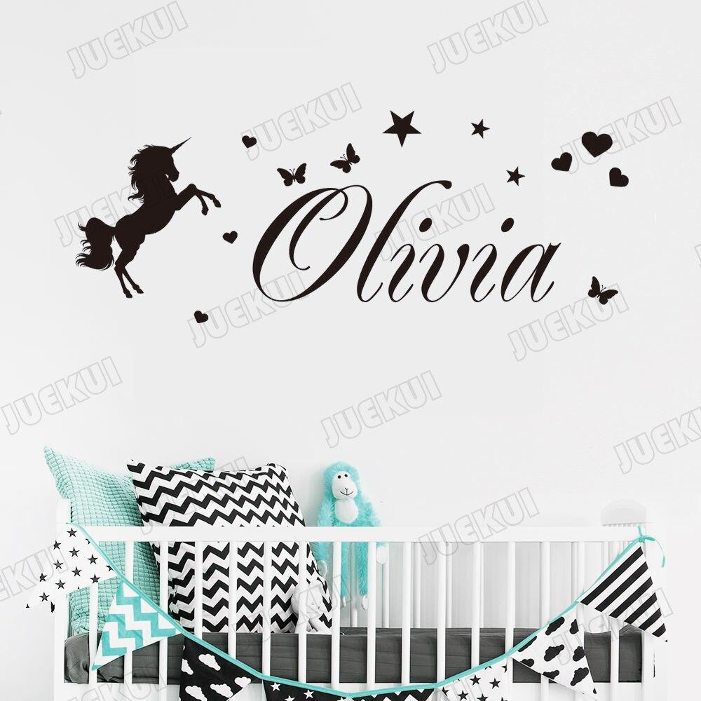 Personalised Name Unicorn Stars Girls Bedroom Childrens Vinyl Wall Art Sticker