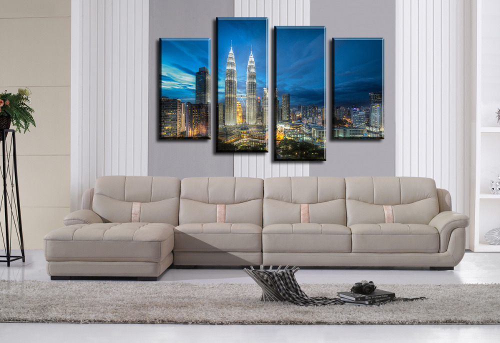 New 4 Panels Skyscrapers Modern City HD Canvas Print Painting Home Decor Wall Art Picture For Living Room Modular Unframed