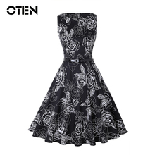 OTEN 2018 Plus Size S-4XL Women vintage 1950s 60s rockabilly black floral swing elegant dress with Belt party sleeveless dresses
