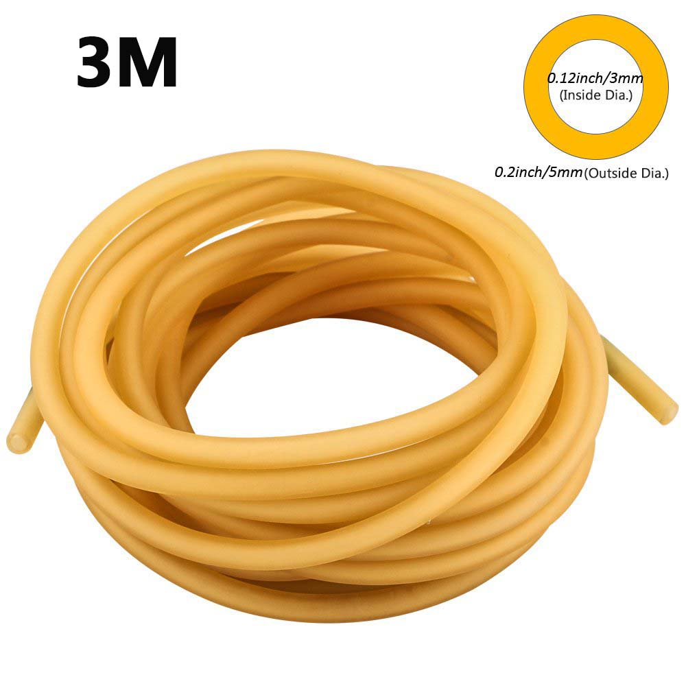 3mm X 5mm Natural Latex Slingshots Rubber Tube 3m Tubing Band For Hunting Catapult Elastic Part Fitness Bungee Equipment