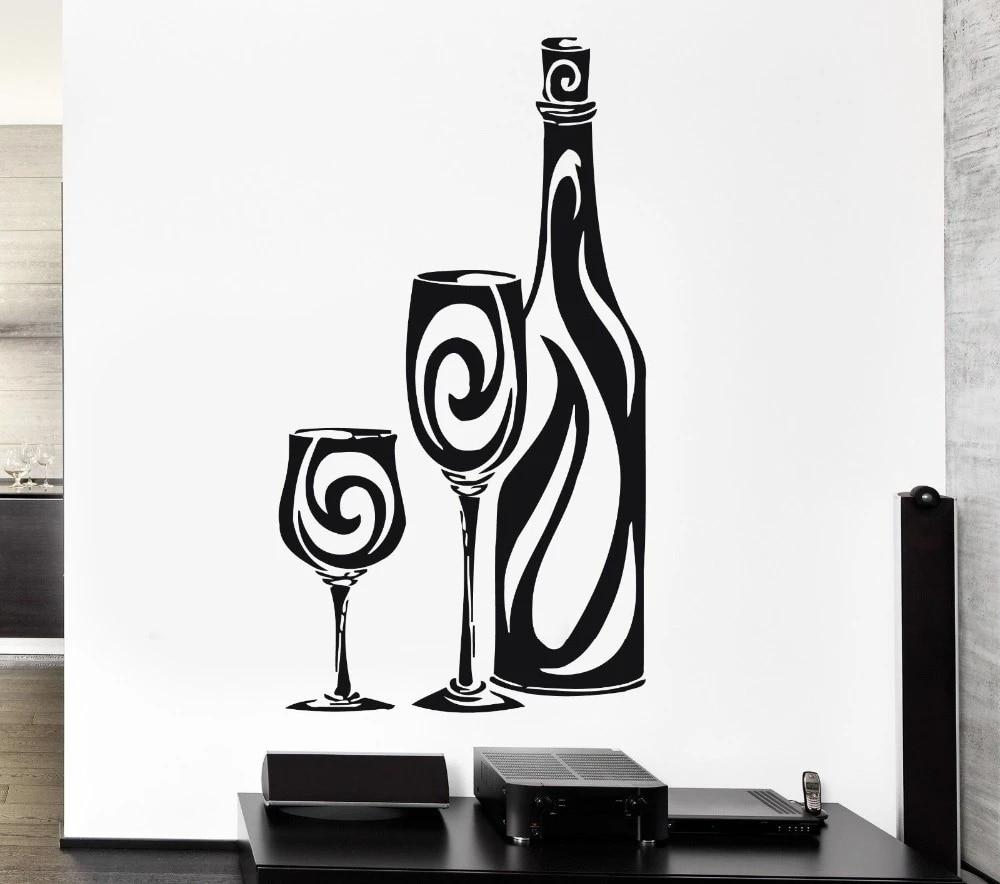n984 Vinyl Decal Wall Sticker Wine Glass Alcohol Drink Cafe Restaurant Decor