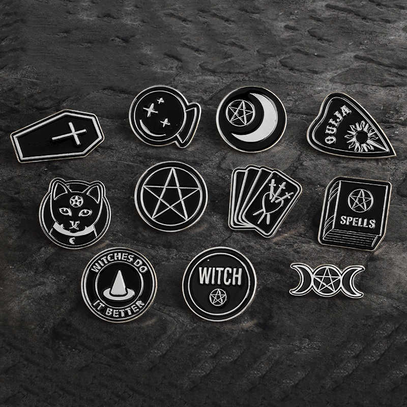 Dark Pins Star Triple Moon OUIJA Heart Witch Coffin SPELLS Book Cards Bottle Dog Brooch Black Enamel Punk Round Pin Buckle Badge