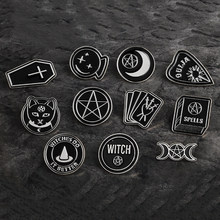 Dark Pins Star Triple Moon OUIJA Heart Witch Coffin SPELLS Book Cards Bottle Dog Brooch Black Enamel Punk Round Pin Buckle Badge(China)