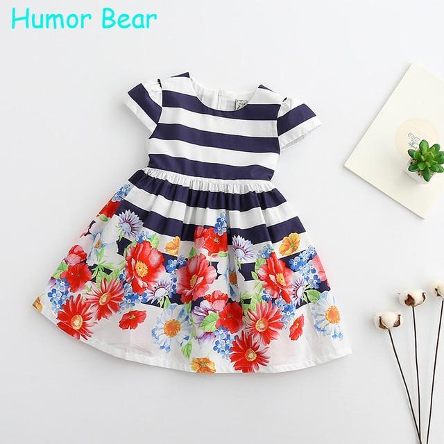 Humor bear nueva raya del verano flores princesa vestidos ropa de las muchachas vestidos party girls dress fashion dress casual