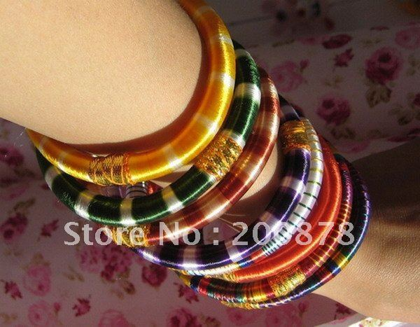 BB-237  Indian Bollywood colorful silk handknotted fashion bangles,12pcs lot,hot sell,mix order,Best offer