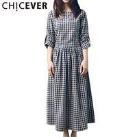 CHICEVER 2017 Long Sleeve Plaid Summer Dress Donna Top Lace Up Bow Abiti Sciolti Vestidos Vestiti Moda Femminile Coreano