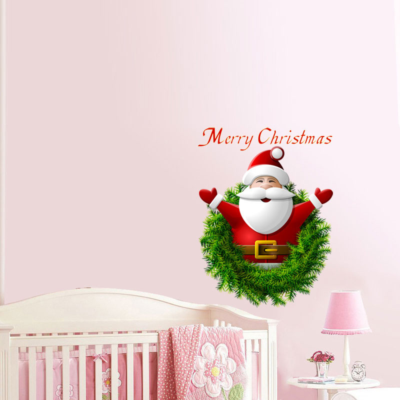 Christmas Wreath Santa Claus Glass Window Door Wall Sticker New Year ...