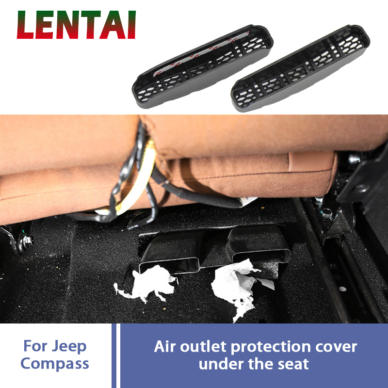 LENTAI 2pcs Car Under Seat Air Conditioner Air Outlet Duct Vent Protective Cover Grill Accessories For 2017 <font><b>2018</b></font> <font><b>Jeep</b></font> <font><b>Compass</b></font> MP image