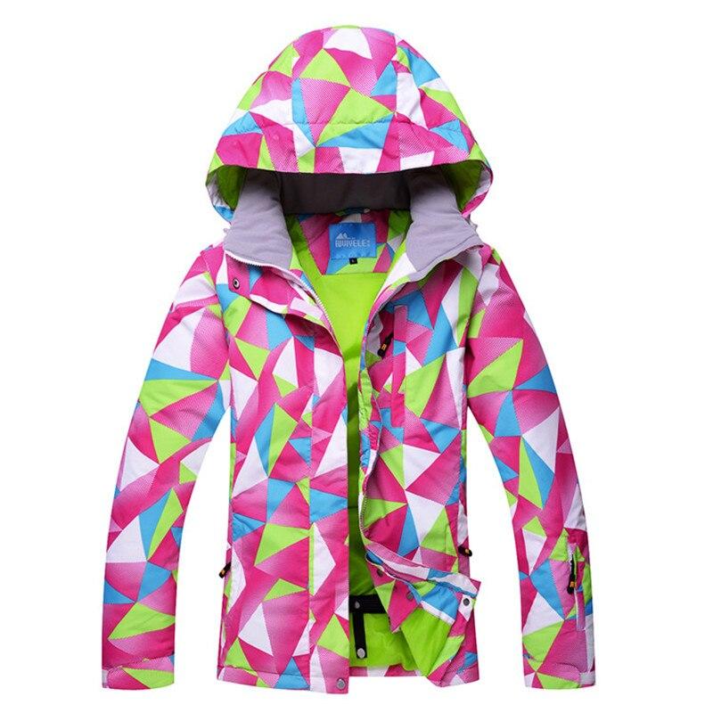 Coloré Impression Femmes Ski Veste Snowboard Chaud et Imperméable Coupe-Vent Respirant Ski Snowboard Vestes Vêtements