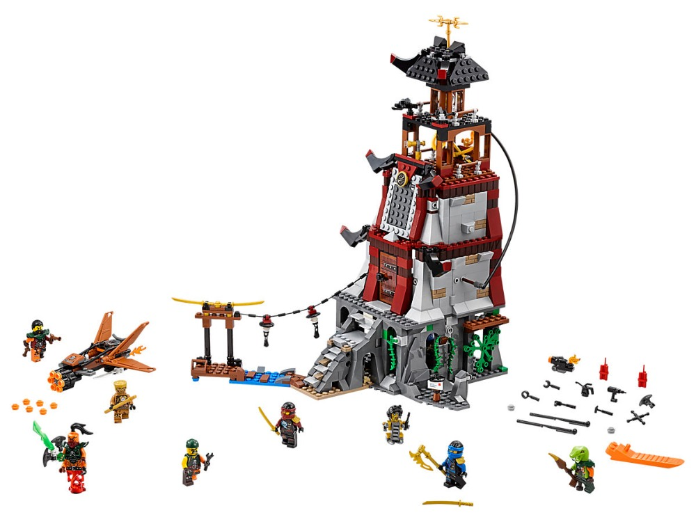 цены Ninjagoe Movie 815pcs Building Blocks toys for Children Bricks The Lighthouse Siege gifts Compatible Legoe Ninjagoe 70594