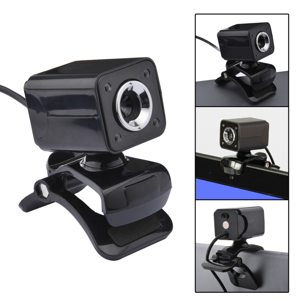 360 Degree Clip-on USB 2.0 480P 12M Pixel 4 LED 30 FPS Computer Webcam HD Camera Web camera With MIC for PC / Notebook