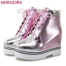 MORAZORA 2020 نمط جديد حذاء من الجلد للنساء مختلط الألوان الخريف الشتاء الأحذية الدانتيل يصل منصة الأحذية الموضة أحذية سيدة عادية