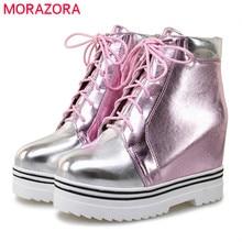 MORAZORA 2020 חדש סגנון קרסול מגפי נשים צבעים מעורבים סתיו חורף מגפי תחרה עד אופנה פלטפורמת מגפי מזדמן ליידי נעליים