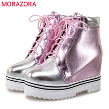 Morazora 2020 新スタイルのアンクルブーツ女性混合色秋冬ブーツレースアップファッションプラットフォームブーツカジュアル女性靴