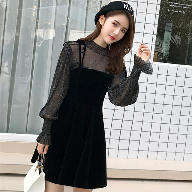 2018 Autumn Women Velvet Dress Vintage Long Sleeve Sheer Mesh Top