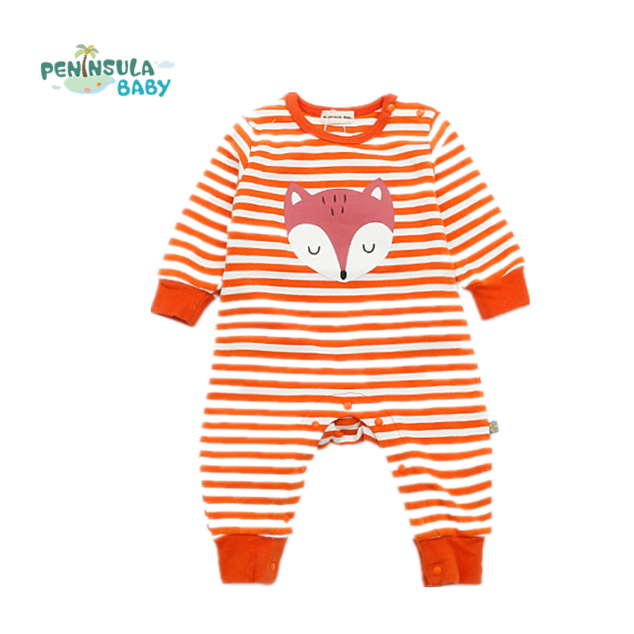 цены  Fashion Baby Boys Girls Rompers Cartoon Fox Striped Long Sleeve Newborn Baby Clothing Infant Outfits Clothes Toddler Costume