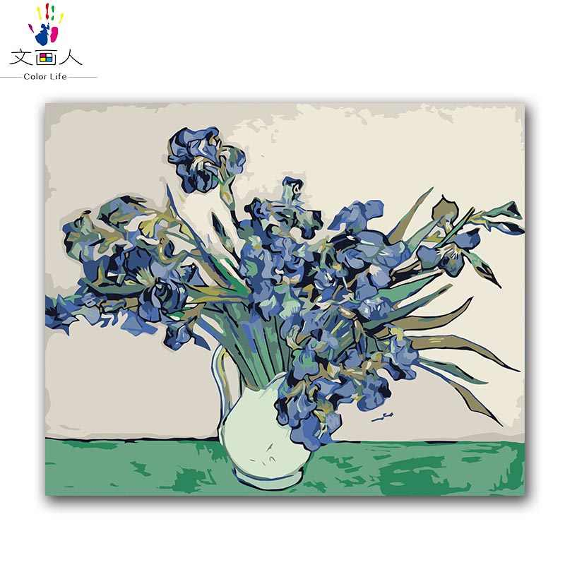 DIY oil paints by numbers Irises Vase flower arrangement Van gogh's paintings pictures coloring paintings by numbers with kits
