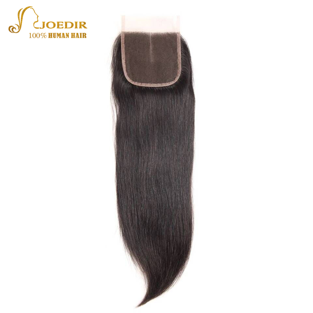 Joedir Remy Hair Closure Brazilian Straight Human Hair Lace Closure 4x4 Free Part Middle Part Three Part Top Closure Free Ship