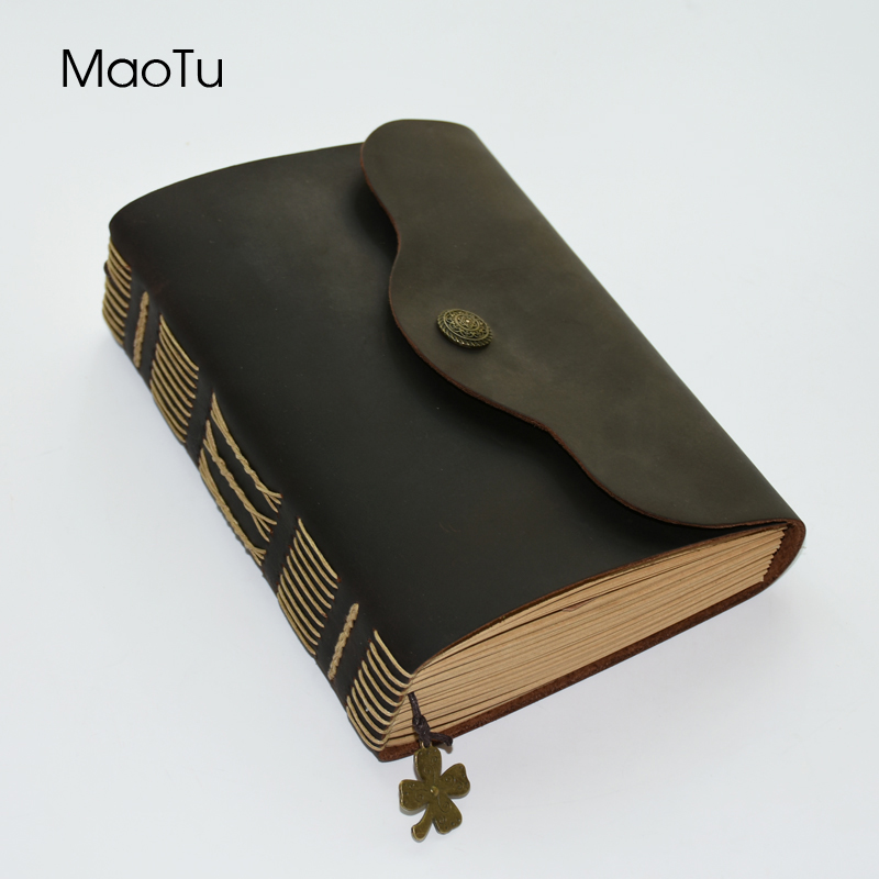 MaoTu Vintage Thick Leather Journal Writing Notebook Diary Book Blank Kraft Paper Handmade Birthday Office School Gift 360 Pages ootdty vintage classic journal notebook diary sketchbook thick blank page leather cover 1 pcs