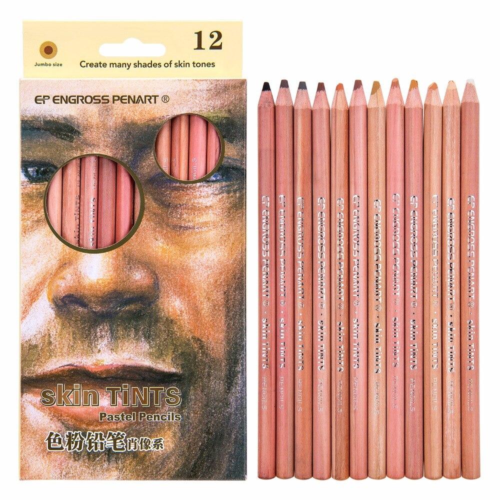 12 cor Pastel Lápis Pastel Macio Tonalidade Da Pele Profissional Lápis de cor Para Desenhar Lapice De Colore Lápis Dos Artigos de Papelaria Da Escola