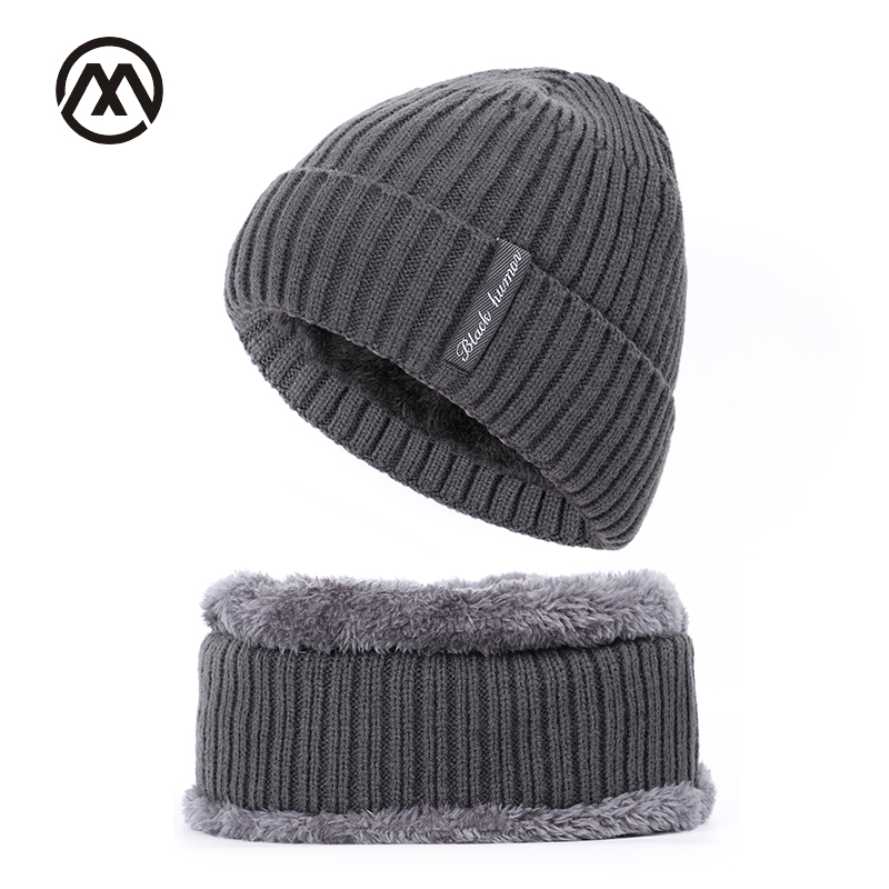 New Plus Velvet Men's Knit Hats Autumn And Winter Warm Thick Ski Hat Scarf Men's And Women's Universal Beanie Skull Caps For Men