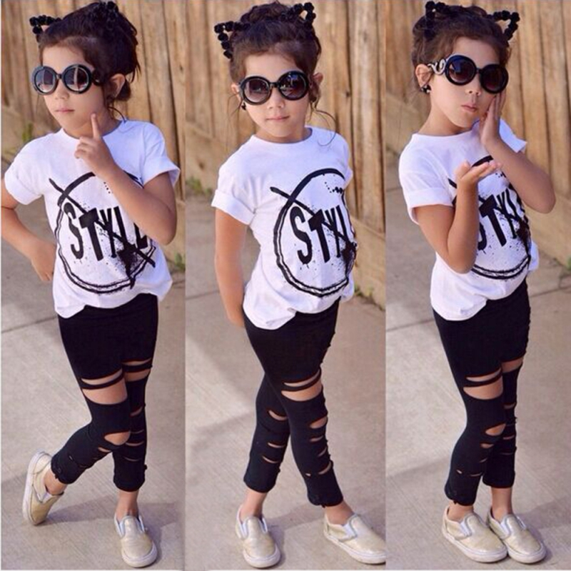 Fashion Kids Girls Clothes Set Girl Summer Short Sleeve T-Shirt and Hole Pant Leggings 2 PCS Outfits girls summer dress pullover girl clothes character short sleeve kids outfits 2016 summer style fashion kids t shirt for girls