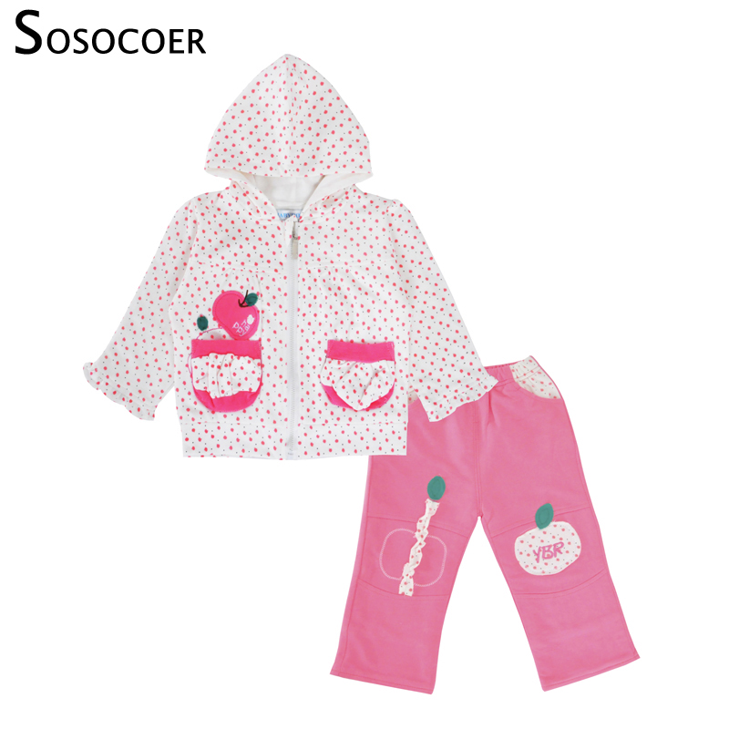 SOSOCOER Baby Girls Clothing Set Spring Autumn Hooded Zipper Coat Long Sleeve T Shirt 3pcs Outfits Kids Baby Clothes Set спот arte lamp cono a5218ap 1br