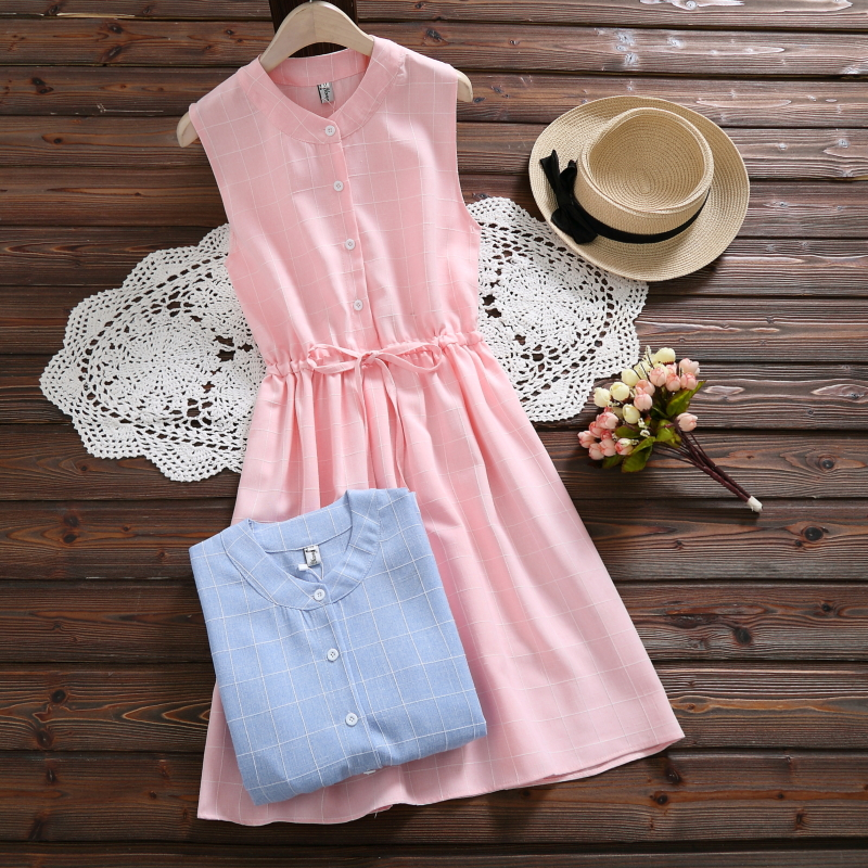 Banulin Summer Women Tank Dress Mori Girl Sleeveless Plaid Drawstring Waist Casual Loose Dress Cotton Linen Vestidos Clothing