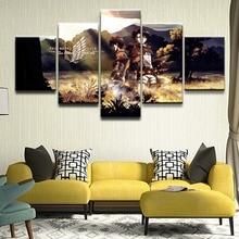 купить Canvas Print Painting Home Decor Picture 5 Pieces Attack on Titan Eren Yeager Levi Ackerman Poster For Living Room Wall Art по цене 398.6 рублей