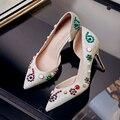 2017 Chegam Novas de Casamento Das Mulheres Sapatos de Salto Alto Pontas Do Dedo Do Pé Vestido de Festa de cristal Lady Bomba 8 cm Salto Fino Tamanho Grande 43
