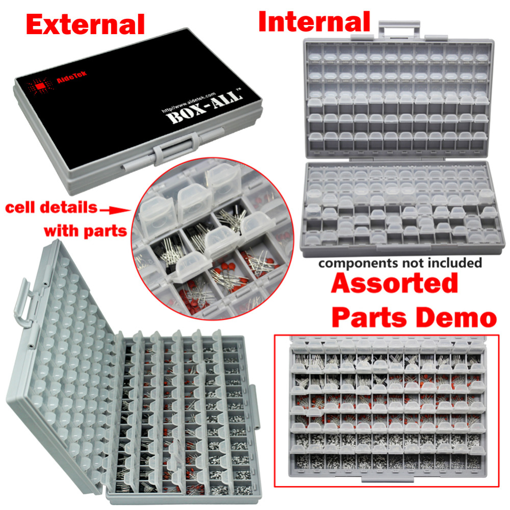 AideTek BOXALL plastic toolbox mount SMD SMT 1206 0805 0603 0402 components Electronics Beads Storage Cases & Organizers 2BOXALL