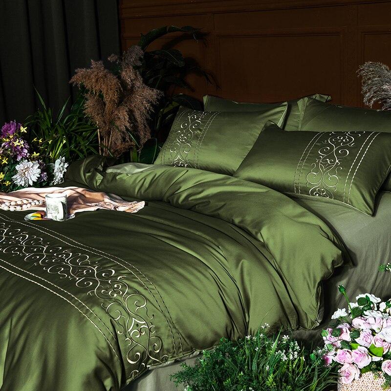 (4)  White silver cotton imitate silk luxurious Bedding Set queen king measurement mattress set Bedsheets linen Europe embroidery Quilt cowl set HTB1ZS9dpb5YBuNjSspoq6zeNFXaq