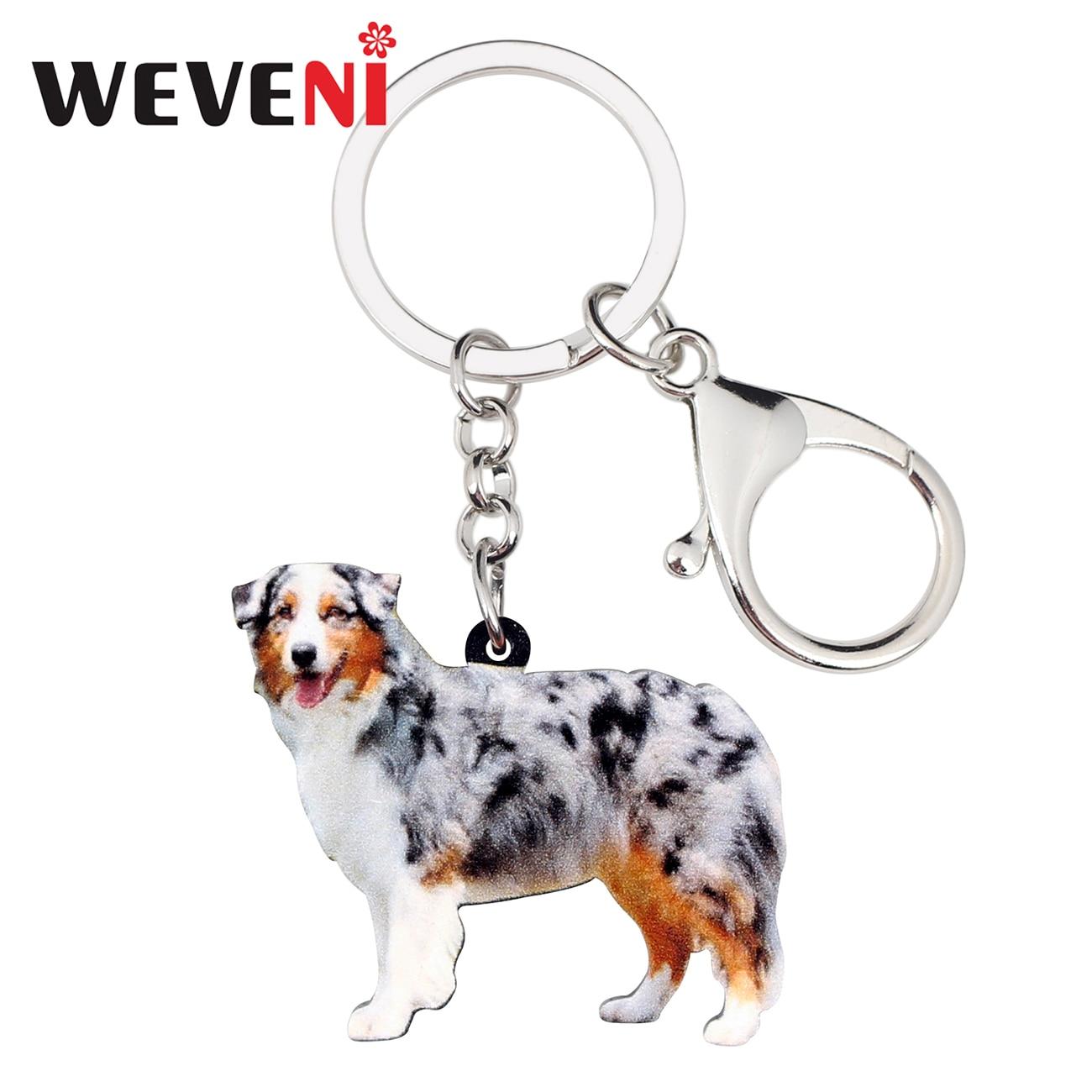 WEVENI Acrylic Australian Shepherd Dog Key Chains Keychains Holder Animal Jewelry For Women Girls Bag Car Wallet Charms Pendant