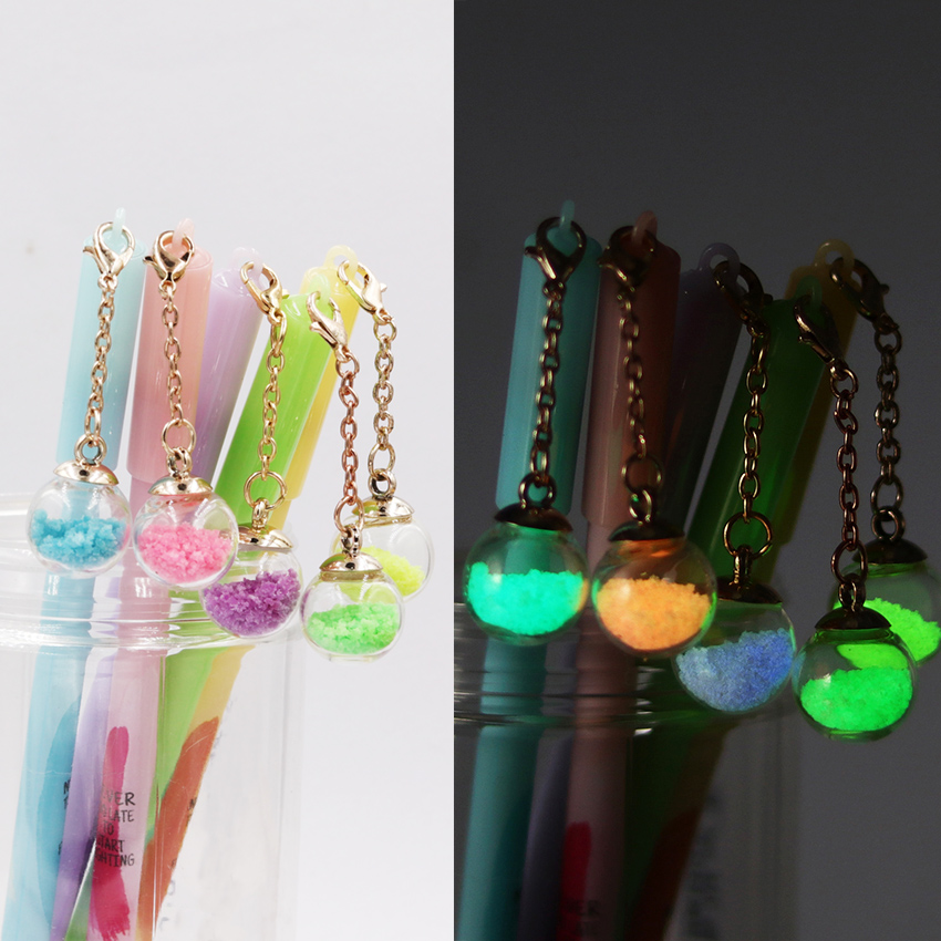 1PC Detachable Pendant Gel Pen Luminous Wish Ball Black Ink Pen Gift Stationery Office School Supplies