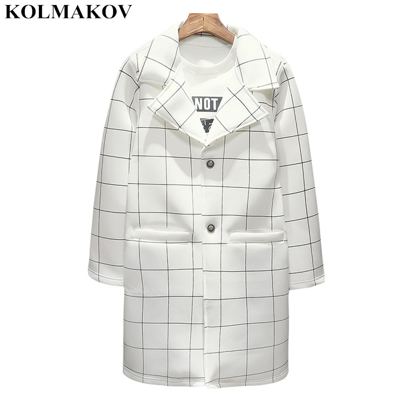 KOLMAKOV New Men's Clothing Mens Plaid Windbreakers Spring Men's Trench Coats White Cotton Coat Men M-3XL Hot Sale Outerwear