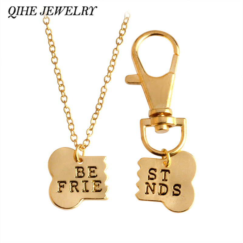 QIHE JEWELRY 2pcs / set Gold Silver Color Dog Tone Best Friends Kalung Charm & Keychain BFF Barang Kemas Persahabatan Bones