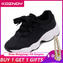 Koznoy Sneakers Women Autumn Korean Edition Dropshipping Students Fashion Flat Bottom Breathable Increase Balance Shoes