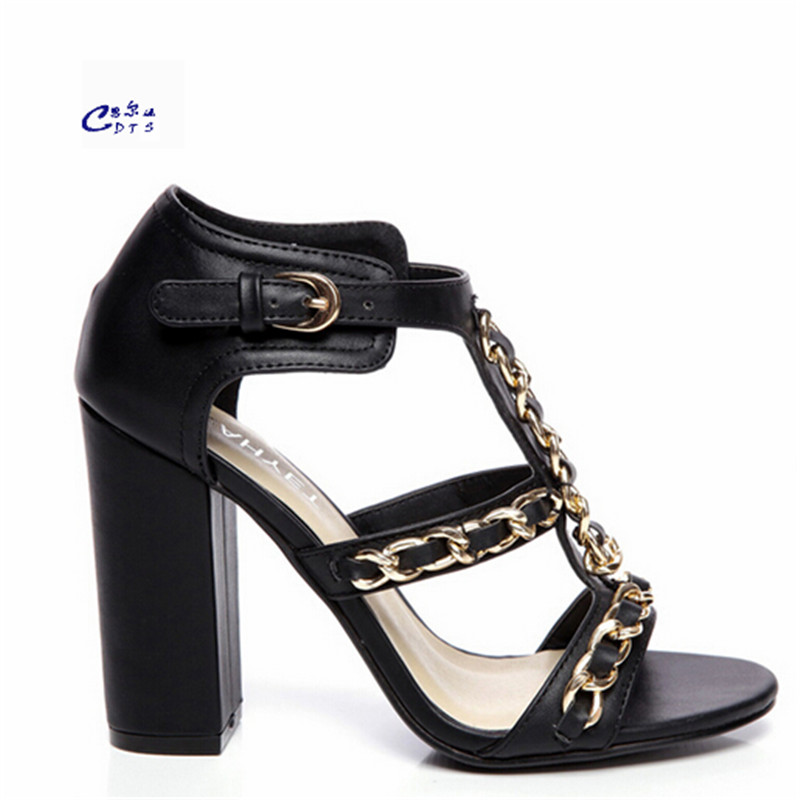 ФОТО Crossdresser 10cm thick heel sandals summer fashion brief fashion sexy high-heeled Genuine leather shoes single T-strap pumps