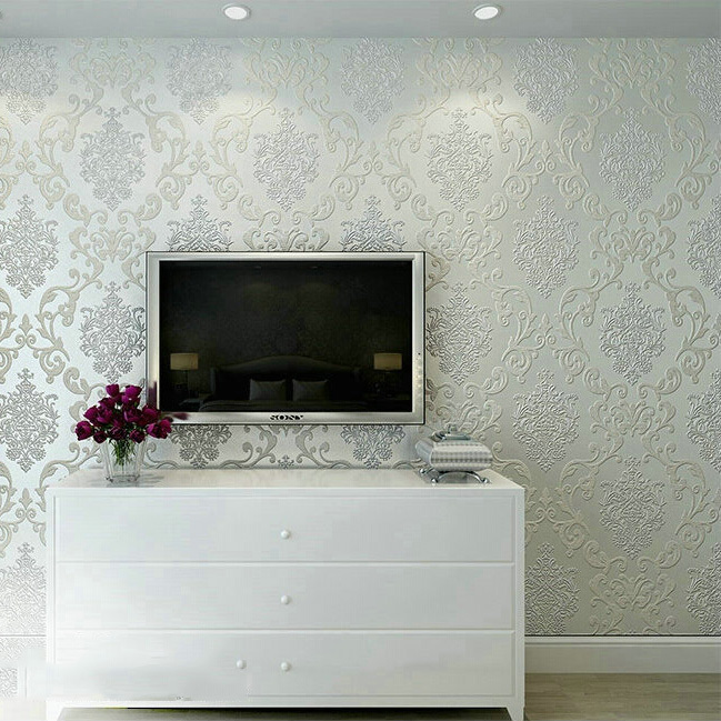 ФОТО brightly luxury lustre pearl damask wallpaper for bedrooms wall decorative and papel de parede para sala de tv