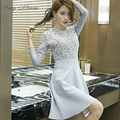 Sexy Mousse Patchwork Chiffon Dresses Spring Vestidios Embroidery Lace Sleeve Hollow out Black Blue Dresses For Women